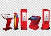 Five Red Promotional Interactive Information Kiosk, Advertising Display, Terminal Stand, Touch Scree poster