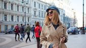Charming Young Blonde On A Walk. Young Beautiful Woman In Stylish Look. Walking On The City, Lifesty poster