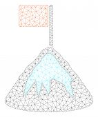 Mesh Achievement Mountain Polygonal Icon Illustration. Abstract Mesh Lines And Dots Form Triangular  poster