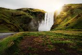 Beautiful Scenery Of The Majestic Skogafoss Waterfall In Countryside Of Iceland In Summer. Skogafoss poster