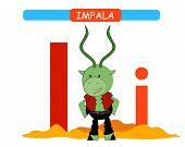 Letter I And Funny Cartoon Impala. Animals Alphabet A-z. Cute Zoo Alphabet In Vector For Kids Learni poster