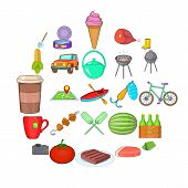 Bbq Evening Icons Set. Cartoon Set Of 25 Bbq Evening Icons For Web Isolated On White Background poster