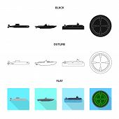 Vector Illustration Of War  And Ship Icon. Set Of War  And Fleet Stock Symbol For Web. poster