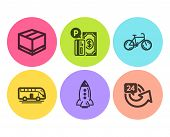 Bus Tour, Rocket And Bicycle Icons Simple Set. Parking Payment, Delivery Box And 24 Hours Signs. Tra poster