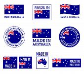 Made In Australia Labels Set, Made In Commonwealth Of Australia Product Emblem poster