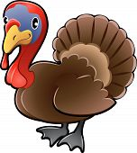 Cute Turkey Farm Animal Vector Illustration poster