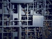 Bunch Of Grey Metallic Frames Plates Against The Wall. Metal Fence Construction In Industrial Print  poster