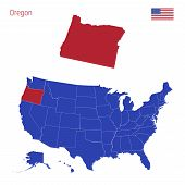 The State Of Oregon Is Highlighted In Red. Blue Vector Map Of The United States Divided Into Separat poster