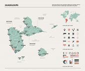 Vector Map Of Guadeloupe.  High Detailed Country Map With Division, Cities And Capital. Political Ma poster