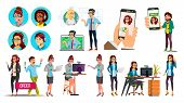 Dispatchers, Client Support Team Vector Characters Set. Male, Female Dispatchers Using Professional  poster