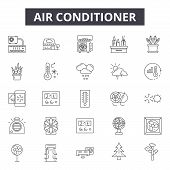 Air Conditioner Line Icons, Signs Set, Vector. Air Conditioner Outline Concept, Illustration: Air, C poster