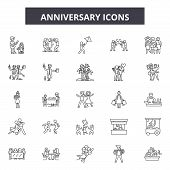 Anniversary Line Icons, Signs Set, Vector. Anniversary Outline Concept, Illustration: Anniversary, C poster