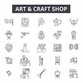 Art And Craft Shop Line Icons, Signs Set, Vector. Art And Craft Shop Outline Concept, Illustration:  poster