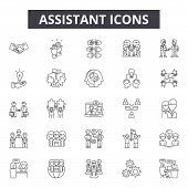 Assistant Line Icons, Signs Set, Vector. Assistant Outline Concept, Illustration: Service, Assistanc poster