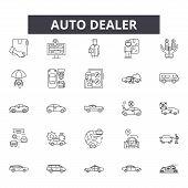 Auto Dealer Line Icons, Signs Set, Vector. Auto Dealer Outline Concept, Illustration: Auto, Dealer,  poster