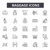 Baggage Line Icons, Signs Set, Vector. Baggage Outline Concept, Illustration: Suitcase, Luggage, Bag poster
