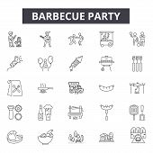 Barbecue Party Line Icons, Signs Set, Vector. Barbecue Party Outline Concept, Illustration: Party, B poster