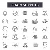 Chain Supplies Line Icons, Signs Set, Vector. Chain Supplies Outline Concept, Illustration: Business poster