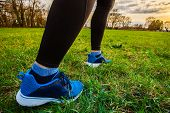Runner Athlete Feet Running On Grass.male Fitness Sunlight Jogging Workout. Sport Athlete Active Lif poster