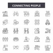 Connecting People Line Icons, Signs Set, Vector. Connecting People Outline Concept, Illustration: Co poster