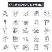 Construction Material Line Icons, Signs Set, Vector. Construction Material Outline Concept, Illustra poster