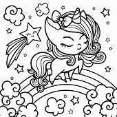 Sketch Of A Unicorn For Coloring, On A White Background. poster