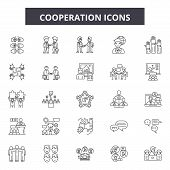 Cooperation Line Icons, Signs Set, Vector. Cooperation Outline Concept, Illustration: Cooperation, B poster