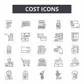 Cost 2 Line Icons, Signs Set, Vector. Cost 2 Outline Concept, Illustration: Cost, Business, Money, F poster