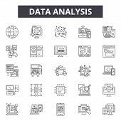 Data Analysis Line Icons, Signs Set, Vector. Data Analysis Outline Concept, Illustration: Analysis,  poster