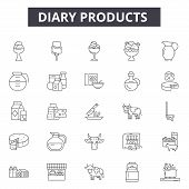 Diary Products Line Icons, Signs Set, Vector. Diary Products Outline Concept, Illustration: Milk, He poster