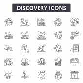 Discovery Line Icons, Signs Set, Vector. Discovery Outline Concept, Illustration: Discovery, Desearc poster