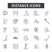 Distance Line Icons, Signs Set, Vector. Distance Outline Concept, Illustration: Distance, Pin, Map,  poster