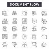 Document Flow Line Icons, Signs Set, Vector. Document Flow Outline Concept, Illustration: Document,  poster