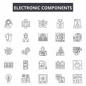 Electronic Components Line Icons, Signs Set, Vector. Electronic Components Outline Concept, Illustra poster