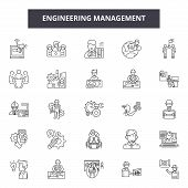 Engineering Management Line Icons, Signs Set, Vector. Engineering Management Outline Concept, Illust poster