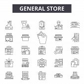 General Store Line Icons, Signs Set, Vector. General Store Outline Concept, Illustration: Store, Sho poster