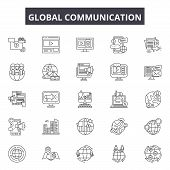 Global Communication Line Icons, Signs Set, Vector. Global Communication Outline Concept, Illustrati poster