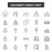 Gourmet Candy Cart Line Icons, Signs Set, Vector. Gourmet Candy Cart Outline Concept, Illustration:  poster