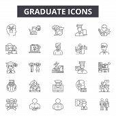 Graduate Line Icons, Signs Set, Vector. Graduate Outline Concept, Illustration: Graduation, Educatio poster