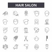 Hair Salon Line Icons, Signs Set, Vector. Hair Salon Outline Concept, Illustration: Salon, Hair, Bea poster