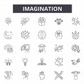 Imagination Line Icons, Signs Set, Vector. Imagination Outline Concept, Illustration: Imagination, I poster