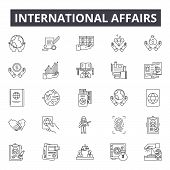International Affairs Line Icons, Signs Set, Vector. International Affairs Outline Concept, Illustra poster