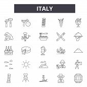Italy Line Icons, Signs Set, Vector. Italy Outline Concept, Illustration: Italy, Italian, Isolated,  poster