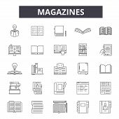 Magazines Line Icons, Signs Set, Vector. Magazines Outline Concept, Illustration: Magazine, Book, Li poster