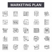 Marketing Plan Line Icons, Signs Set, Vector. Marketing Plan Outline Concept, Illustration: Marketin poster