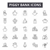 Piggy Bank Line Icons, Signs Set, Vector. Piggy Bank Outline Concept, Illustration: Money, Coin, Fin poster