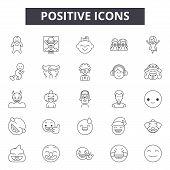 Positive Line Icons, Signs Set, Vector. Positive Outline Concept, Illustration: Positive, Like, Flat poster