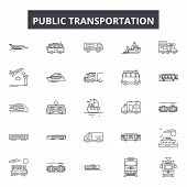 Public Transportation Line Icons, Signs Set, Vector. Public Transportation Outline Concept, Illustra poster