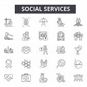 Social Services Line Icons, Signs Set, Vector. Social Services Outline Concept, Illustration: Servic poster