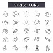 Stress Line Icons, Signs Set, Vector. Stress Outline Concept, Illustration: Stress, Head, Human, Per poster